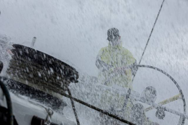 Peter Burling gets lost in the spray at the helm of Team Brunel hours before he was named 2017 World Sailor of the Year