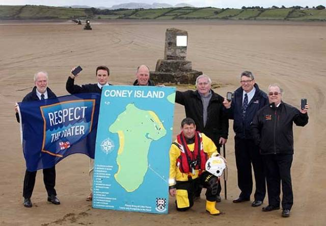 Pictured at the launch of Text Coney are from left Frank Carter, Sligo Bay RNLI Coastal Safety Adviser, Rogan Wheeldon, RNLI Community Incident Reduction Manager, Michael and John McGowan, residents of Coney Island, Joe Henderson, Sligo Bay RNLI Coastal Safety Officer, Willie Murphy, Sligo Bay RNLI Lifeboat Operations Manager and to the front, Johnny Keaney Sligo Bay RNLI volunteer.