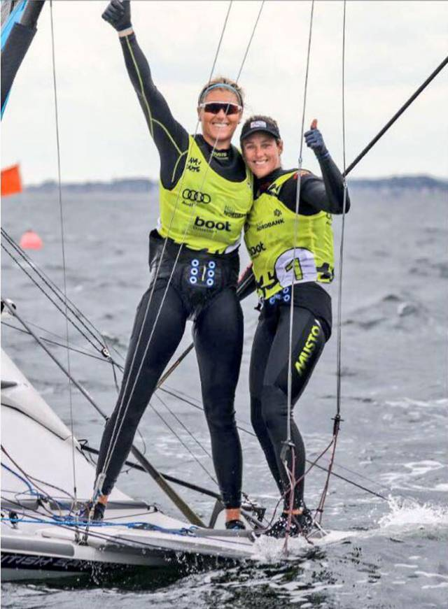 Saskia Tidey with Team–GB team mate Charlotte Dobson after winning at Kiel Week