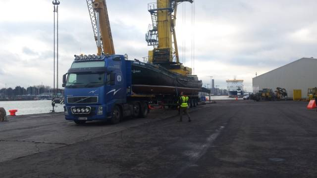 Zorg Ella – a 21 metre barge originally used to transport potatoes in eastern Netherlands was transported by ship to Dublin Port as seen lowered into the water