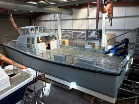At the Irish boatyard of Safehaven Marine, (Cobh) Cork is the officially named 'HMS Magpie' for the Royal Navy. Afloat adds the name given for the Wildcat 60 catamaran was announced in recent days by Admiral Sir Philip Jones, First Sea Lord and Chief of Naval Staff.