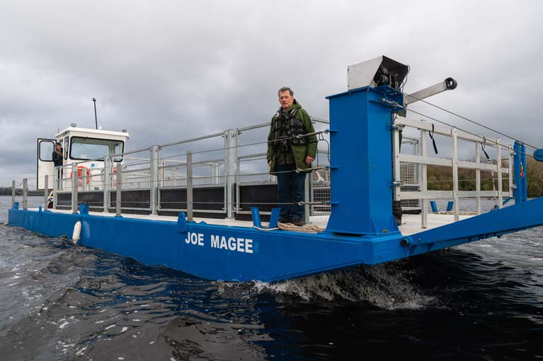 The new Joe Magee ferry on Lough Erne