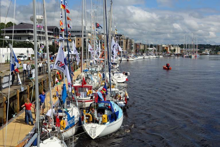 The maritime scene in Derry during the last Clipper Race visit