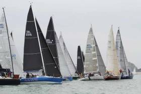 Dave Cullen's Checkmate XV (blue hull second from left) from Howth Yacht Club emerges in clear air in the light-wind start of yesterday's opening race in the Half Ton Classics in Belgium