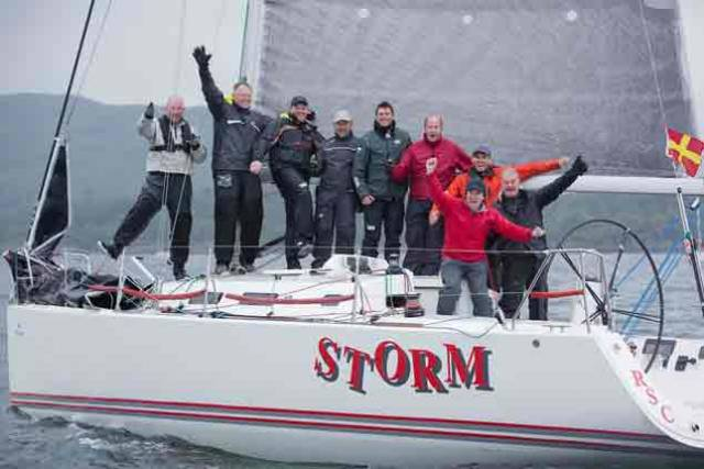 The victorious Storm crew from Rush Sailing Club celebrate on the Clyde includes Pat Kelly, David Kelly, Ronan Kelly, Paul Kelly, Paddy Kelly, Mark Ferguson, Sean Murphy, Marty O'Leary Alan Ruigrok and Kevin Sheridan