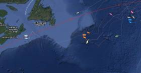 BAM dances with TWOSTAR leader Rote 66 as the fleet leader Vento approached the Nova Scotian coast
