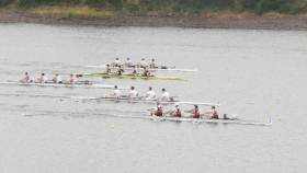 UCC on their way to winning the club coxed four from Trinity, Shandon, Enniskillen and Cork.