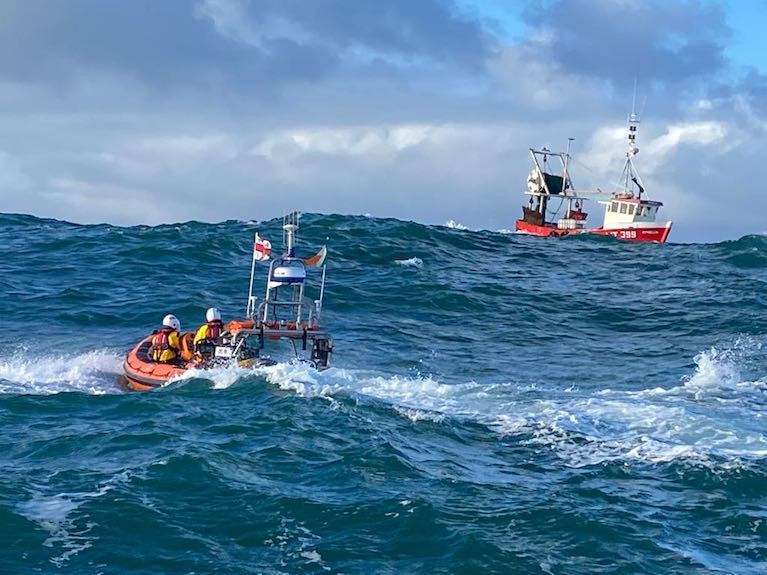The ten metre trawler was taking on water and in danger of sinking