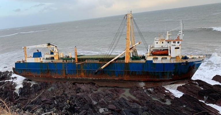 Alta aground and in an unstable condition on an inaccessible stretch of coastline west of Ballycotton, Co. Cork
