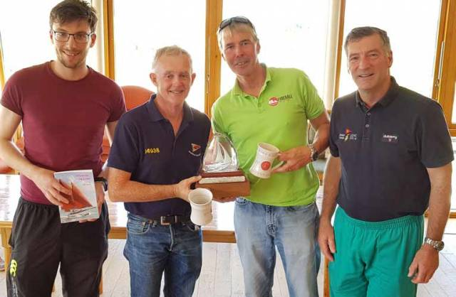 From Left to right: Conall Holohan, Sailing Secretary LDYC, Niall McGrotty, Neil Cramer (Winners) and John Leech, Race Officer & Commodore LDYC