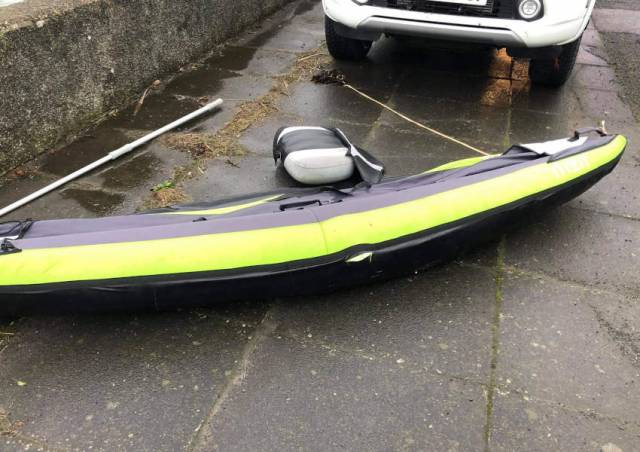 The inflatable kayak found ashore at Millisle in Co Down on Monday morning