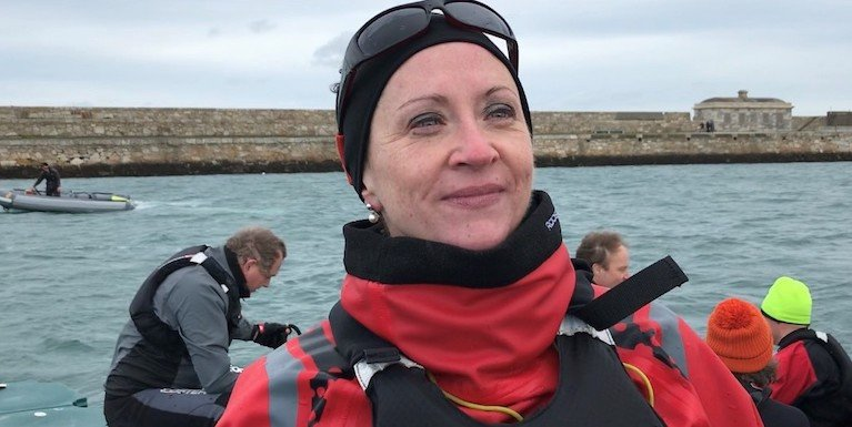 INSC Commodore Patricia Kelly on the water in Dun Laoghaire