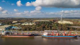 Bulkers berthed Belview, the main terminal at the Port of Waterford located downriver from the south-eastern city on the Co. Kilkenny side of the River Suir