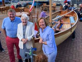 Martin Byrne, his mother Hilda and his wife Triona with their classic new Water Wag Hilda, No 49 in a fleet whose origins can be traced back to 1887.