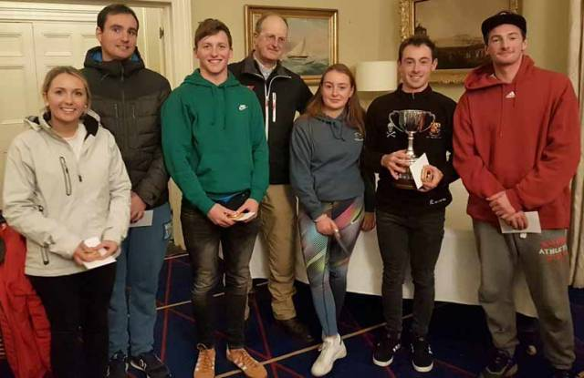 Royal St George Commodore Peter Bowring (pictured centre) with Baltimore SC champions comprising Mark Hassett with Adam Hyland, Fionn Lyden with Amy Harrington and Johnny Durcan with Trudy O'Hara