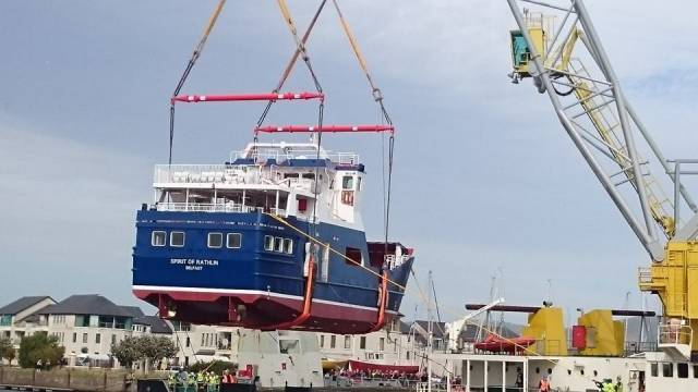 Rare moment in Irish shipbuilding as the new carferry Spirit of Rathlin is lowered into the River Avoca yesterday
