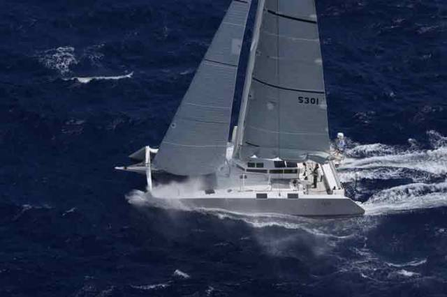 Greg Slyngstad's Bieker 53, Fujin (USA) at the start of the RORC Caribbean 600