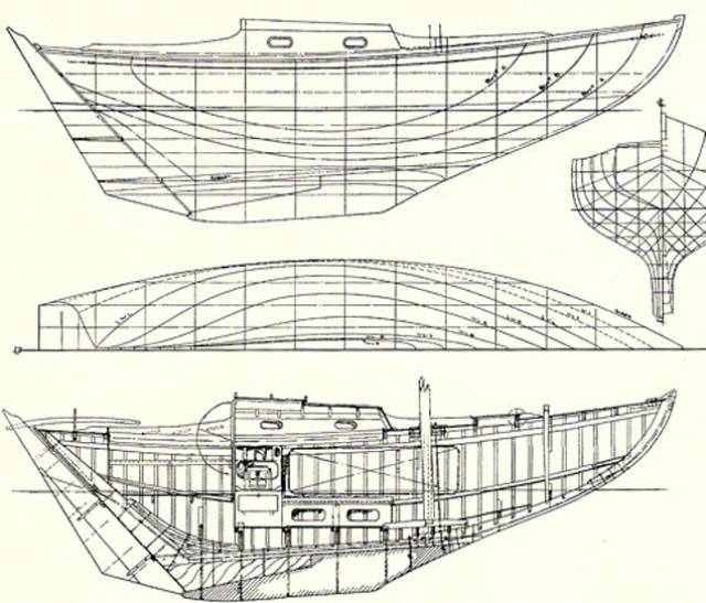 The original Colleen design as commissioned from Alan Buchanan by Royal Cork YC members in 1950. Bill Trafford of Alchemy Marine has been asked to provide a re-creation based on a second-hand but sound glassfibre hull, though of a different design.