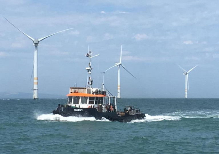 Alpha Marine's tug Husky at SSE Renewables' Arklow Bank wind farm off Co Wicklow