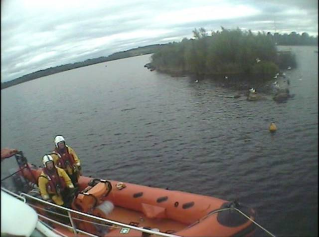 Lough Derg's inshore lifeboat on callout to the grounded cruiser on Monday afternoon