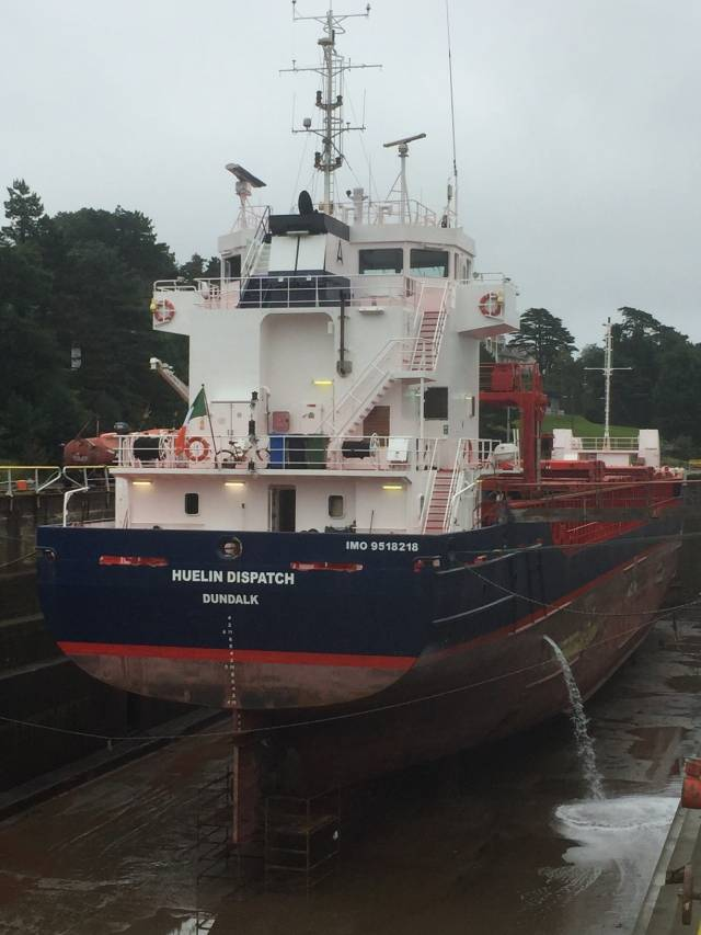 Irish flagged cargoship Huelin Dispatch that operates a UK-Channel Islands freight service is currently undergoing dry-docking in Cork Dockyard