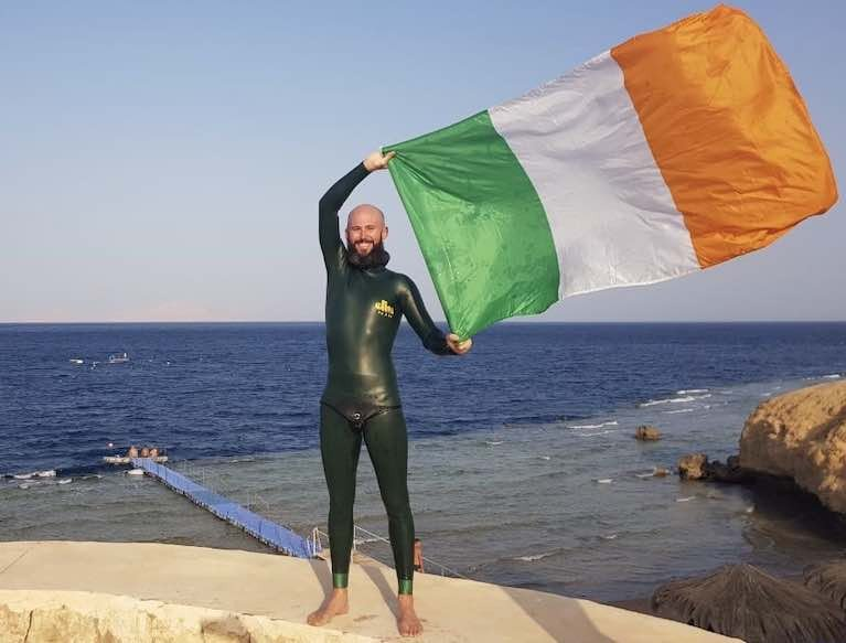 Irish Freediver Dave McGowan. McGowan took up freediving as a means to train for his other passion of spearfishing in 2014, he began taking his training seriously in 2015 and in 2016 he broke the previous Irish static breath-hold record of 5 minutes and 35 seconds with a breath-hold of almost 6 minutes. Four years later, that 5:59 Irish record still stands.
