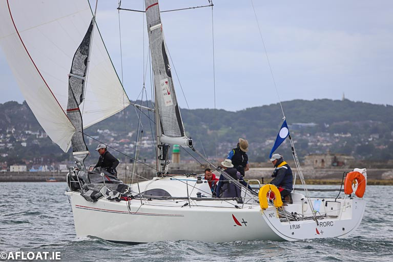 Class two ISORA debutante, the Archambault A31 'A Plus' (Mick Flynn and Grant Kinsman) on her way to overall victory in the 50-mile ISORA offshore from Dun Laoghaire. Scroll down for slideshow