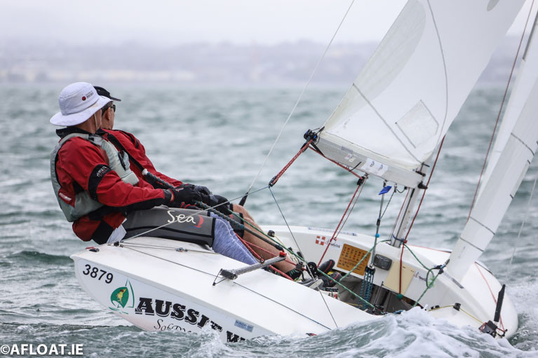 An Australian competitor at the 2019 Subaru Flying Fifteen World Championships on Dublin Bay