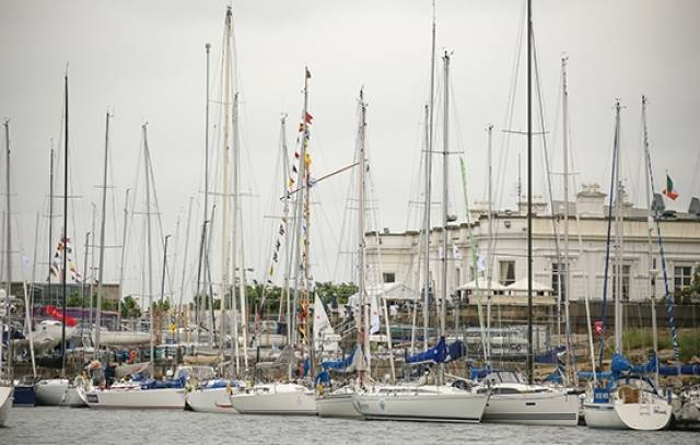 Volvo Round Ireland Yacht Race entries gather at the Royal Irish Yacht Club, Dun Laoghaire before tomorrow's start off Wicklow Head at 1pm