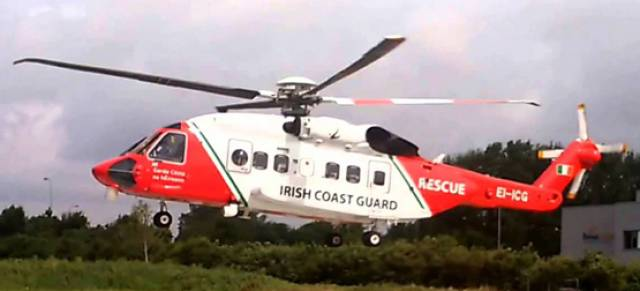 Rescue 118, pictured above, airlifted three casualties from a life raft 16 miles off Eagle Island