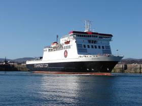 Ben-My-Chree in Douglas Harbour, is the main Isle of Man ferry which serves year-round services.