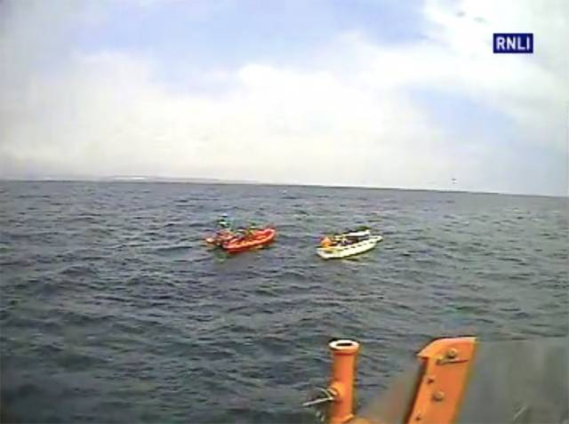 Ballycotton's all-weather lifeboat approaches Youghal RNLI with the stricken pleasure boat