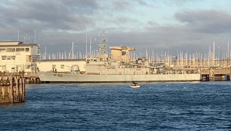 Coastal patrol vessel LE Ciara (P42) alongside at Dun Laoghaire Harbour this morning