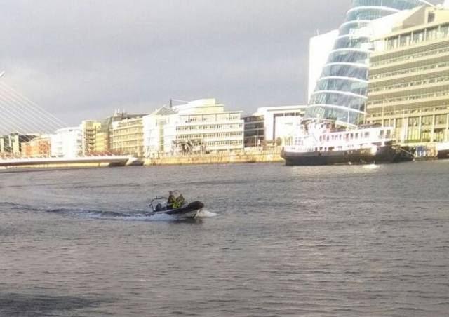 The Dublin Fire Brigade rescue boat at Sir John Rogerson's Quay in Dublin's Docklands