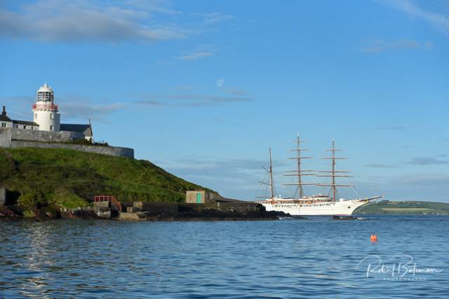 Sea Cloud II passes Roches Point lighthouse on her arrival into Cork Harbour