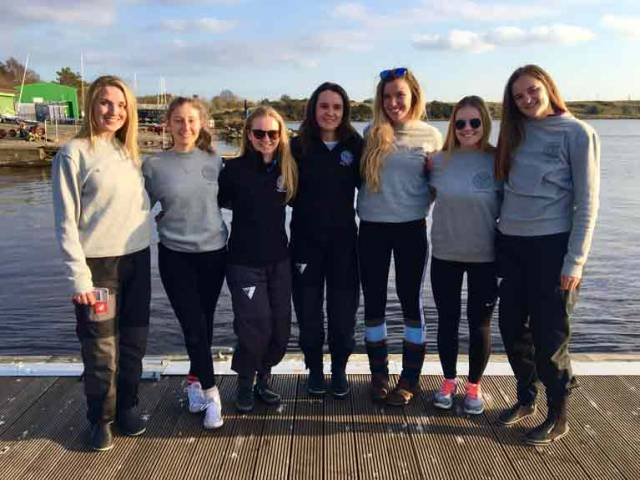 The Trinity College Sailing Team were the only overseas team at the RYA BUSA Ladies Team Racing National Championships. Left to right: Jayne Dolan, Caoilainn O'Regan, Caitlin Waters (captain), Sophie Whelton, Sorcha Donnelly, Sarah Greene (sub), Sophie Kinirons