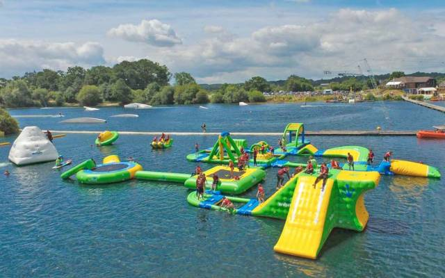 An inflatable aqua park similar to this one in England's New Forest could pop up in Dun Laoghaire's Coal Harbour this year