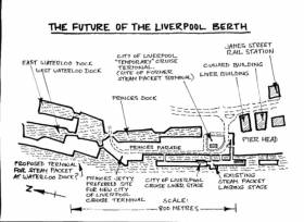 The Liverpool berth plan shows where the Isle of Man terminal at the Landing Stage and a proposal to relocate downriver to the Waterloo Dock (on left)