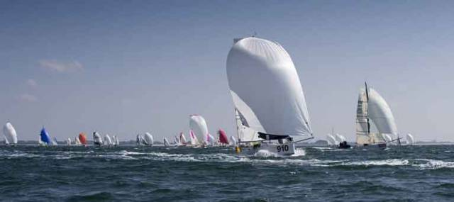 Tom Dolan (bow number 910 in foreground) narrowly leads his class after the first night at sea in the Mini-en-Mai 2017, but still has 329 miles to race with the prospect of flukey winds.
