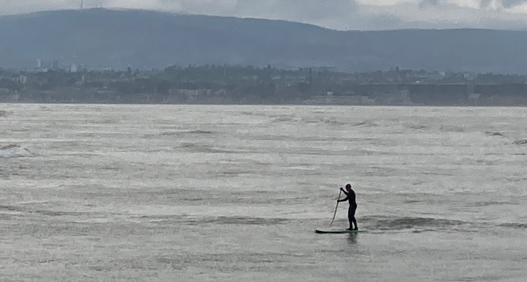 A SUP at the Shelley Banks on Dublin Bay