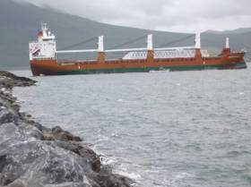 A general cargoship departs Fenit in July with Liebherr container crane parts on board