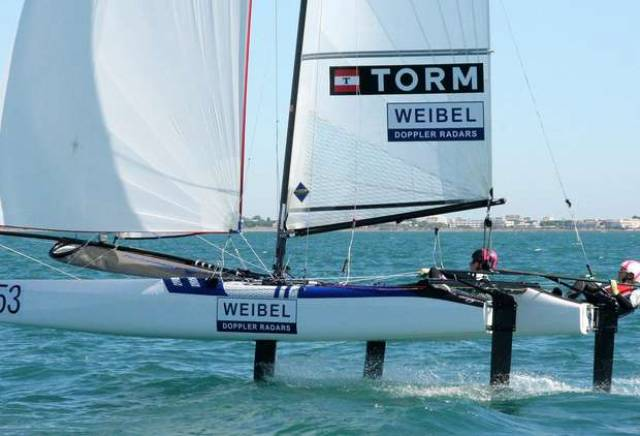 CP Lubeck, fell overboard and was struck by the rudder foil of his Nacra 17 while racing in New Zealand yesterday.