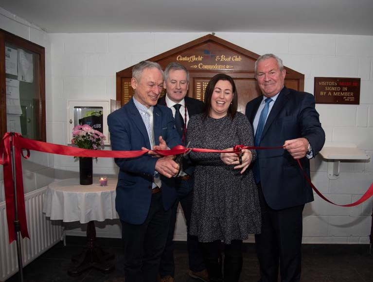 CYBC Ribbon Cutting: Richard Bruton TD, Aidan Cronin, Edel Currie and Richard Nolan at the ceremony