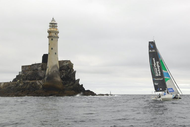 Ireland's Tom Dolan rounds the Fastnet Rock in tenth place in the La Solitaire du Figaro race