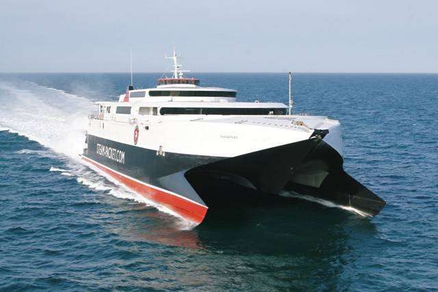 Fastferry craft, Manannan underway on Isle of Man seasonal routes
