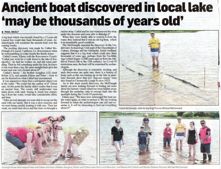 Press coverage of the discovery in the Roscommon People