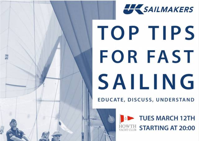 UK Sailmakers Talk On 'Top Tips For Fast Sailing' At Howth Yacht Club Tomorrow