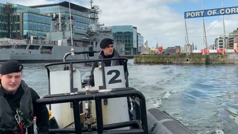 In this mid-April scene was according to the Naval Service the LÉ Eithne (P31) berthed at Albert Quay in Cork city, which is supporting the S/SW Region of the HSE. At the same time the navy continued framework operations and training with the navy deploying RIB boats on patrols of the River Lee. Also above two crew members, Able Seaman Adam Duggan (NSR) and Able Seaman Sean O'Leary were conducting such an exercise.