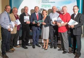 Marine Minister Michael Creed and BIM CEO Tara McCarthy (centre) with representatives from the new Fisheries Local Action Groups