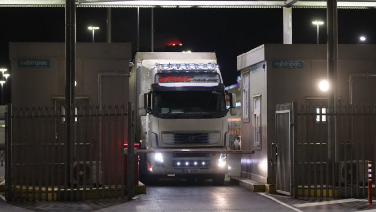 Revenue warns hauliers will face sanctions if directions to visit customs posts are ignored. Above: Trucks pass through a customs post at Dublin Port as new arrangements come into force (following a post-Brexit UK).